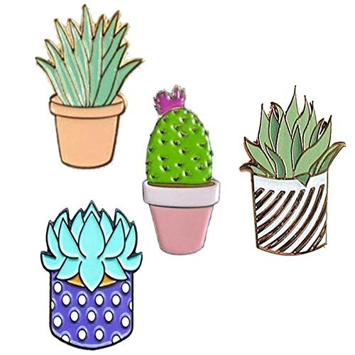 GALLOPJOY Creative Cute Cactus Lotus Flower Grass Aloe Vera Potted Badge Corsage Collar Brooch Pins ,Pack of 4