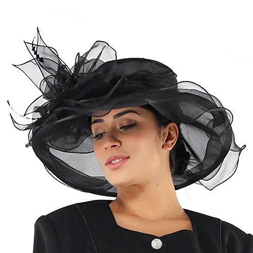 09d37245fc0 June s Young Women Hats Summer Big Hat Wide Brim Top Flower White Black