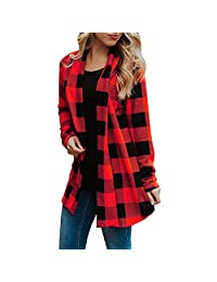 Womens Buffalo Plaid Long Sleeve Elbow Patch Draped Open Front Cardigans Coat