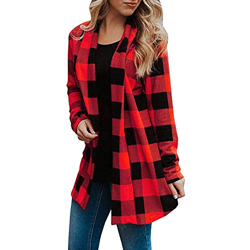 NEARTIME Clearance Womens Cardigan, Autumn/Winter Plaid Long Sleeve Blouse Bow Collar Patchworking Casual Coat