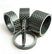 "5pcs Bicycle Handle Bar Stem Carbon Fiber Gloss Spacer 1-1/8"" 3/5/10/15"