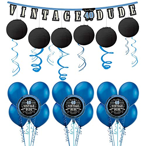 Party City Vintage Dude 40th Birthday Decorating Kit with Balloons, Includes Decorations and a -