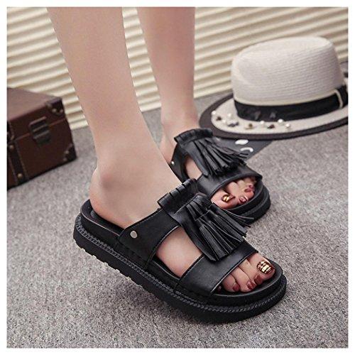 Womens Roman Summer Sandals Flops Shoes Inkach Black Ladies Flip Summer Sandals Fringe Sandals EHHX1w4xq