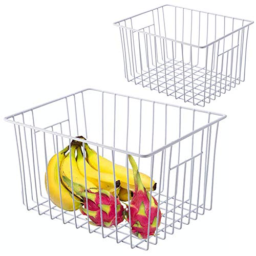 Homics 2 Pack Metal Wire Storage Basket Organizer Bin for Household Storage, Freezer Basket with Handles for Kitchen, Cabinets, Closets, Pantry and Bedroom