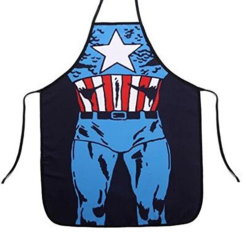 si ying Adjustable Bib Apron with Pocket Comic Characters Adjustable Bib Apron with Pocket, Character Apron (Blue)