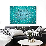 Quote Canvas Print Wall Art Best Friends Forever Message on Scribbled and Hatched