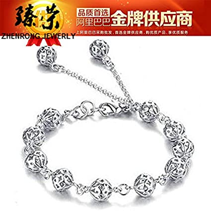 635b25ac8 Image Unavailable. Image not available for. Color: Hollow exquisite ball  bracelet silver jewelry Taobao ...