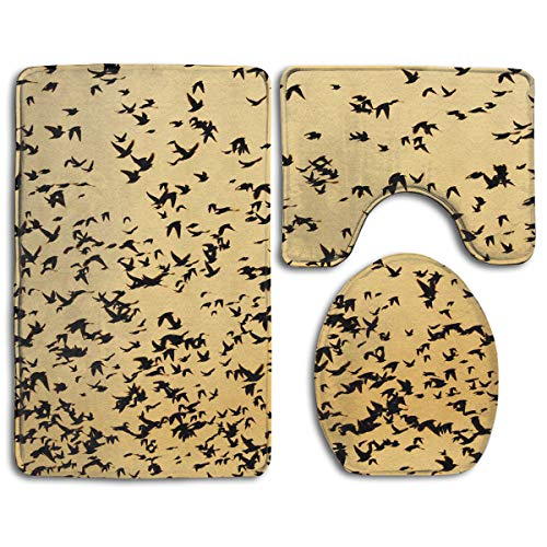 Birds Bokeh Sky Bathroom Rug Sets 3 Piece Non-Slip Floor Mat Contour Rug Toilet Lip Cover]()