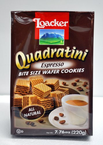 - Loacker Quadratini Espresso Bite Sized Wafer Cookies, 7.76 Ounce (Pack of 8)