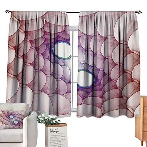 Warm Family Spires Blackout Curtains for Bedroom Fragmented Spirals in Enigmatic Psychedelic Style Environment Hyperbolic Mystical Design Cream Light Curtain W55 x L63