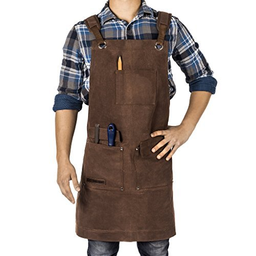 Waxed Canvas Heavy Duty Shop Apron With Pockets Adjustable up to XXL for Men and Women in Gift Box - Texas Canvas Wares (Brown) ()