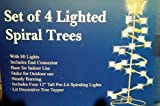 Set of 4 lighted spiral christmas trees - 4 - 12 inches high