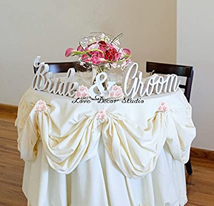 Bride And Groom Wedding Signs For Sweetheart Table Decor   Pvc Signs, Sign  Letters Freestanding