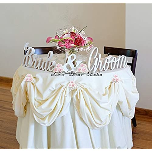Bride And Groom Wedding Signs For Sweetheart Table Decor   Pvc Signs, Sign  Letters Freestanding Bridal Table (6 Inches)