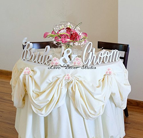 Awesome Amazon.com: Bride And Groom Wedding Signs For Sweetheart Table Decor   PVC  Signs, Sign Letters Freestanding Bridal Table (6 Inches): Home U0026 Kitchen