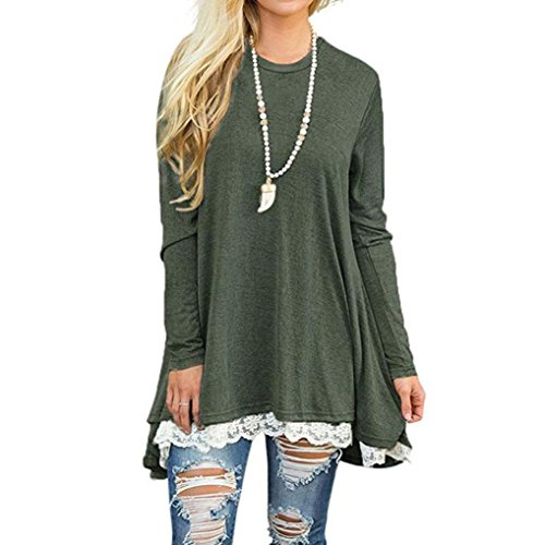 Auwer Women's Casual Scoop Neck A-line Solid Color Lace Long Sleeve Pullover Tunic Tops Blouse T-shirt Shirt Dress (S, (The Fashion Spot Halloween)