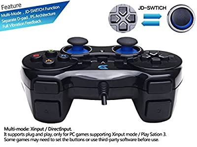 ZD-V+ USB Wired Gaming Controller Gamepad For PC(Windows XP/7/8/10) & PS3 &  Android & Steam - [Black] - Works better than the Logitech USB controller