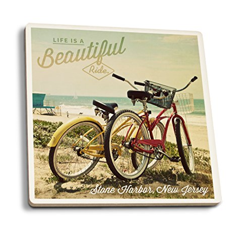 (Lantern Press Stone Harbor, Jersey - Life is a Beautiful Ride - Beach Cruisers (Set of 4 Ceramic Coasters - Cork-Backed,)