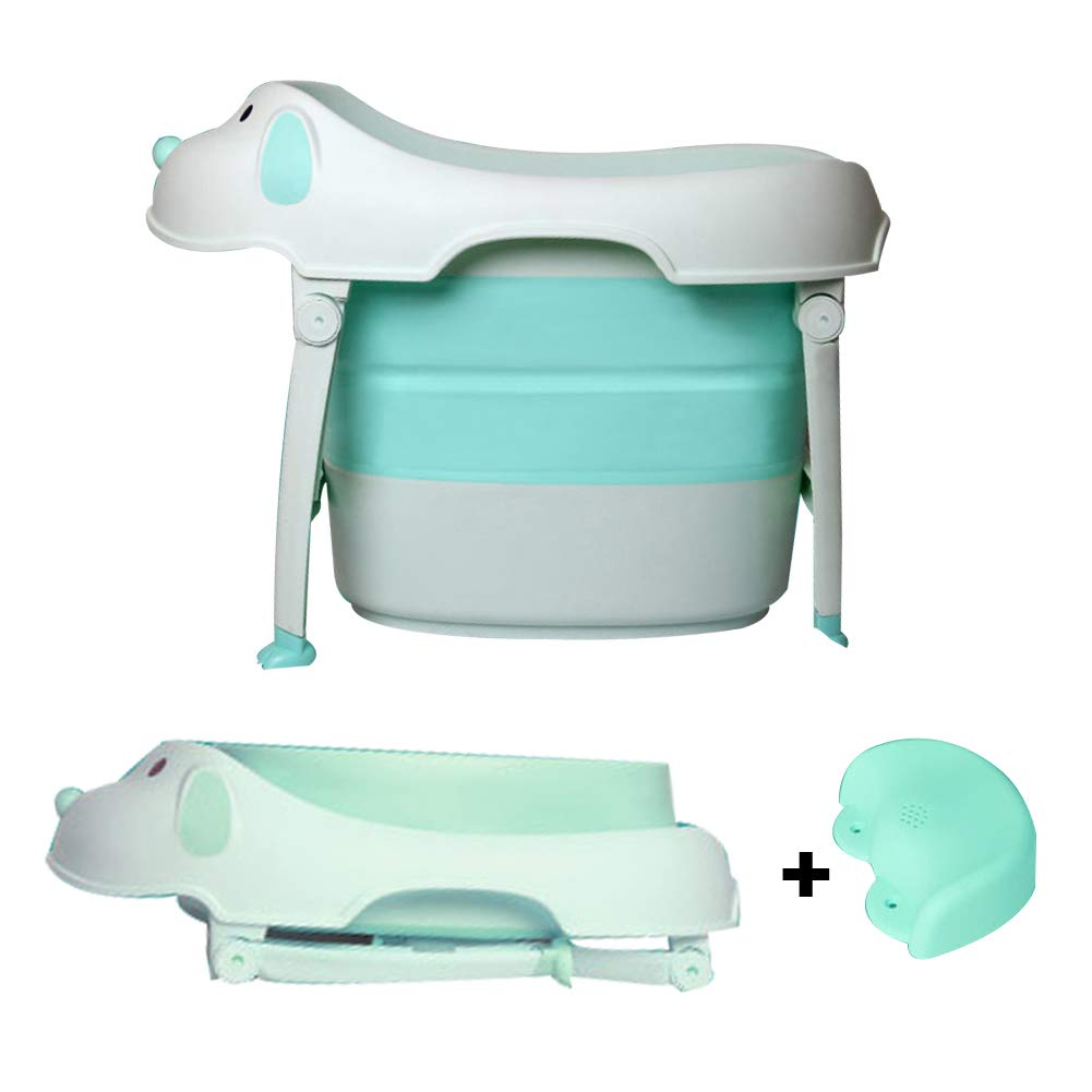 Large Size Foldable Baby Bath Tub with a Bath Seat, Also Storage Box, Laundry Bucket Function, Suitable for 6 Months to 10 Years Old Baby by finebaby