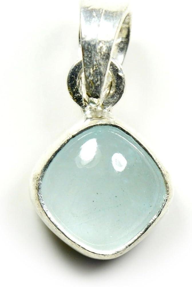 Jewelryonclick 3?carat Naturel v?ritable Pierre pr?cieuse de coussin aigue-marine Pendentif charm Argent sterling 925