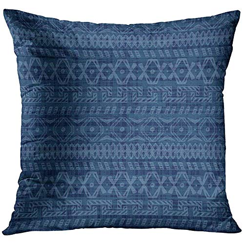 Throw Pillow Cover Blue African Ethnic Indigo Grunge with Doodle Tribal Geometric Ornamental Pattern Abstract Traditional Decorative Pillow Case Home Decor Square 18x18 Inches Pillowcase