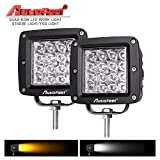 "white and amber driving light - LED Light Bar, Autofeel 4"" 144W Quad Row 12D Fog Light LED Work Light Amber Light Bar Driving Light Fog Light Snow Light Spot Beam for Jeep, Truck, Heavy Duty, Pack of 2"