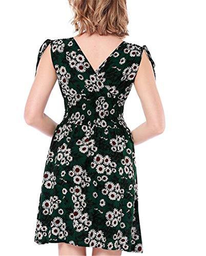 Cromoncent Floral V Dresses line Waist Sleeveless Green Swing Womens Empire Deep Neck a wI6xrPIqpE