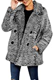 Women's Fluffy Fleece Coats Casual Open Front Pockets Fuzzy Button Sherpa Jackets Outwear Dark Grey L
