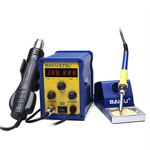 Conveniente Preciso y duradero sofisticado BAKU BK-878L2 AC 220V Pantalla LED 2 en 1 Estación de soldadura de soldador con...