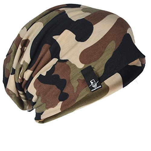 FORBUSITE Mens Womens Slouchy Beanie Summer Winter Hat Baggy Skull Caps (Camouflage-Green)