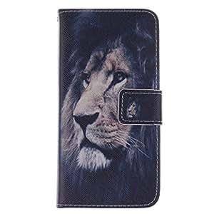 SUZMURO HTC One M8 Mini Case Lion patrón PU Cuero Carcasa Protectora para HTC One M8 Mini Funda Tapa Cartera con Cierre Magnético y Función de Soporte