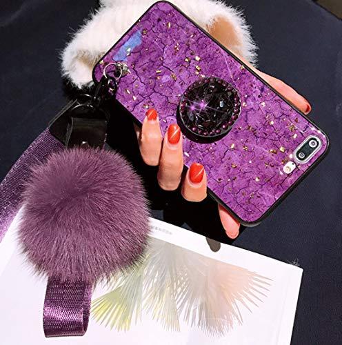 VANVENE iPhone case, Fashion INS Purple Rhinestone Marble Stripe iPhone Case with Hair Ball Lanyard and Bracket (iPhone 7 Plus / 8 Plus)