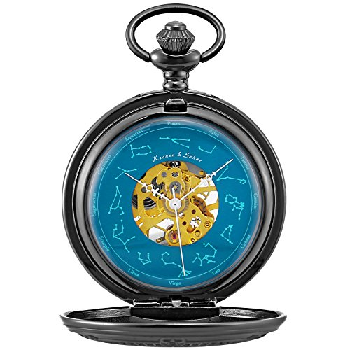 Ks Half Hunter Mens Constellation Markers Mechanical Automatic Skeleton Pocket Watch KSP099