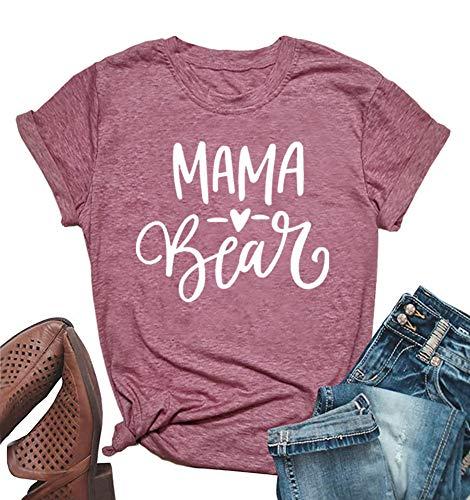 Mama Bear Shirt Short Sleeve Womens Cute Heart Print Graphics Tees Lady Summer Casual Tops