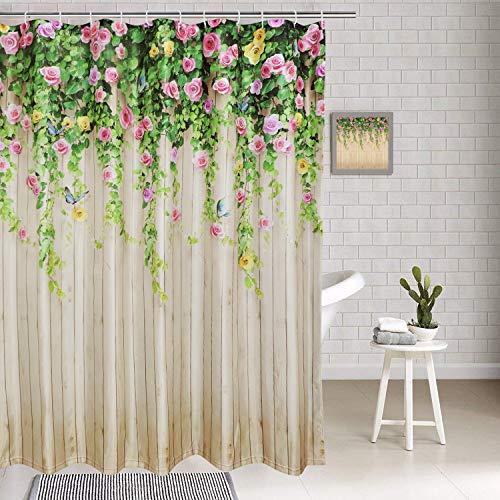 BLEUM CADE Ice Jazz Bathroom Shower Curtain Flower Butterfly Shower Curtains Durable Waterproof Home Bath Curtain Sets 12 Hooks