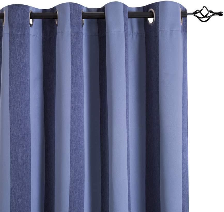 "jinchan 2 Tone Blue 63"" Curtains Drapes for Living Room Bedroom Grommet Top Thermal Curtains for Living Room Window Curtain Room Darkening Striped Curtains 2 Panels"