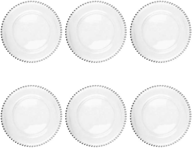 33 cm di/ámetro EME Bajo Plato Presentaci/ón Perlas Plata 6 Unidades en Vidrio Transparente 6 Unidades.