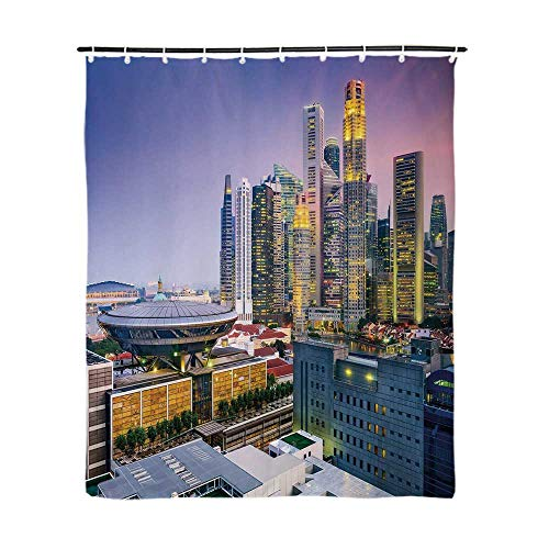 Urban Fashionable Shower Curtain,Skyline of Singapore at Evening Skyscrapers Stadium Active City Life Southeast Asia Decorative for Bathroom,72''L x 48''W