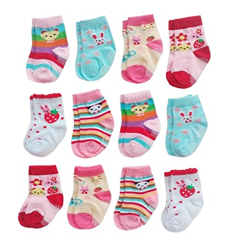 Deluxe Anti Non Skid Slip Slipper Crew Socks With Grips For Baby Toddler Girls (6-12 Months, 12-pairs/assorted)