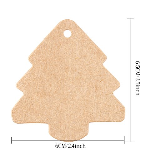 DECORA 100 Pieces Brown Kraft Paper Gift Tag Christmas Tree Label With Jute Twines