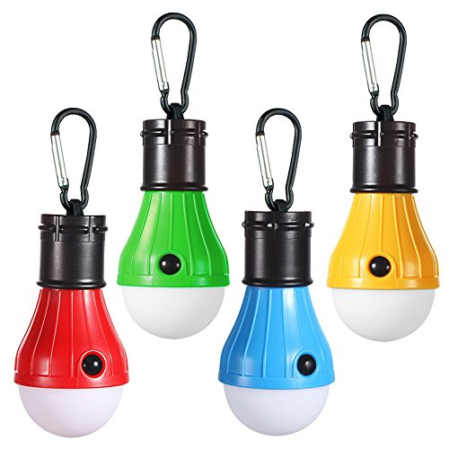 Doukey LED Camping Light [4 Pack] Portable LED Tent Lantern with Carabiner for Backpacking Camping Hiking Fishing Emergency Light Battery Powered Lamp for Outdoor and Indoor