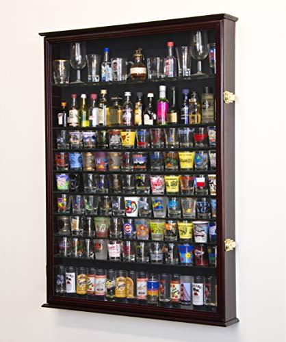 XL Shot Glass Display Case Rack Holder Cabinet for Tall Shooter and Mini Liquor Bottle -Cherry