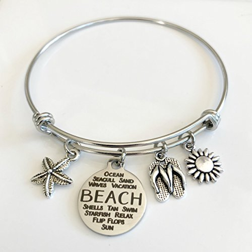 Beach Lovers Expandable Charm Bracelet with Stainless Steel Wire - Best Friend Bangle - Small-Med -