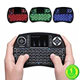 IPazzPort Mini Wireless Touch Keyboard Handheld Remote, Touchpad Mouse Combo, 3 Color LED Backlit Remote Control for Android TV Box, PS3 XBOX, Raspberry Pi 3, HTPC