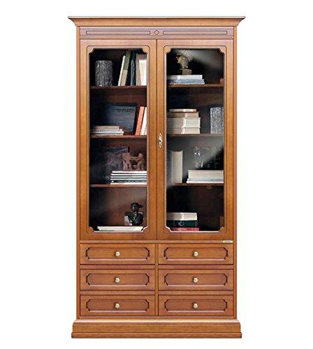 Vetrina libreria alta color ciliegio, libreria 2 ante in vetro ...