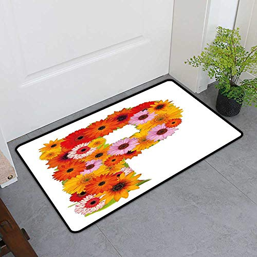 TableCovers&Home Front Door Mat Carpet, Letter P Doormats for High Traffic Areas, Flower Arrangement with Gerbera Daisies Colorful Palette Alphabet P Symbol Print (Multicolor, H32 x W48) ()
