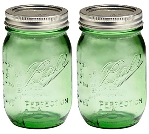 Set of TWO GREEN Genuine Heritage 100 Year Anniversary Edition BALL MASON JARS (pint) Bundled with Handy Refrigerator MEASURING CHART MAGNET