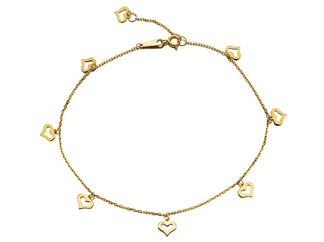 F.Hinds 9ct Gold Eight Hearts Anklet 10in Bracelet Chain Foot Jewelry Women Gift