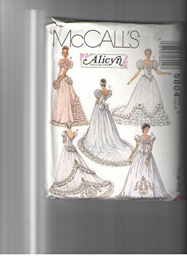 Mccalls 5804 Sewing Pattern for Misses Bridal Gowns, Bridesmaid Gowns, Princess Bodice, Chapel Train, or Back Bustle, or Lace Appliques or Ruffle & Sleeve Variations, or Bows,
