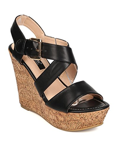 Women Leatherette Open Toe Cross Strap Cork Platform Wedge Sandal FA93 - Black (Size: 8.5)